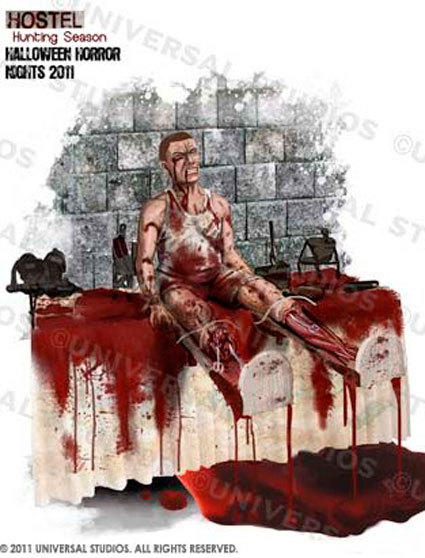 Concept art of the severed leg scene in the Hostel maze at Halloween Horror Nights.
