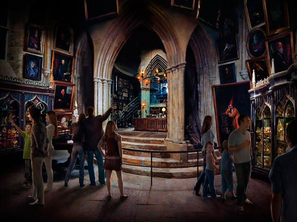 Concept art of Dumbledore's office at the Making of Harry Potter tour at Warner Bros.' studios outside London.