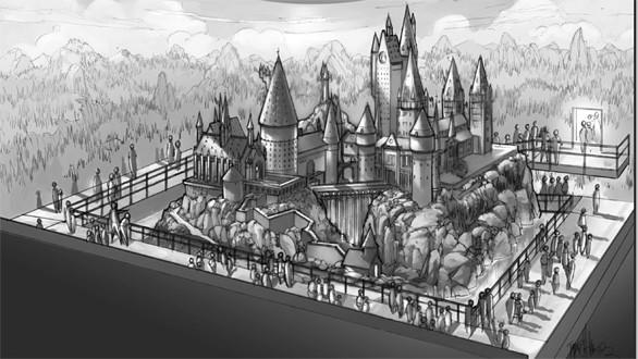 An artist sketch of the 1:24 scale model of Hogwarts Castle at the Making of Harry Potter tour at Warner Bros.' studios in England.