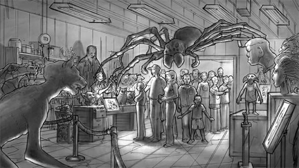 An artist's sketch of the creature shop where visitors come face-to-face with Buckbeak the Hippogriff, Aragog the giant spider, Fawkes the phoenix and the giant Basilisk snake at the Making of Harry Potter tour at Warner Bros.' studios in England.