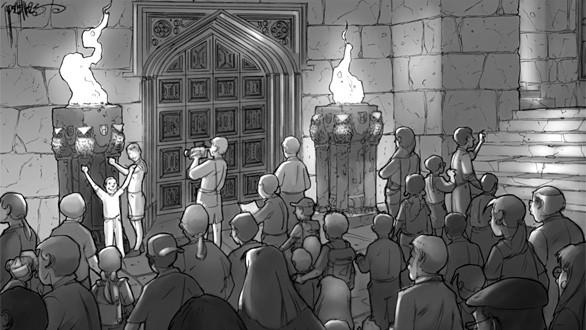 An artist's sketch of visitors waiting to enter the Great Hall at the Making of Harry Potter tour at Warner Bros.' studios in England.
