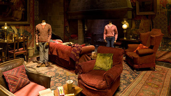 Characters' costumes are displayed in the Gryffindor common room at the Making of Harry Potter tour at Warner Bros.' studios in England.