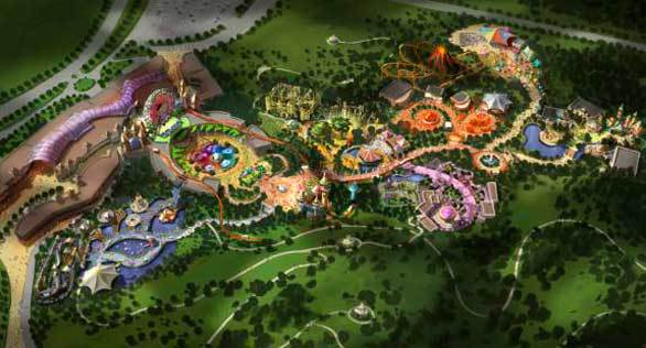 Concept art: Aerial view of Hello Kitty theme park planned for China.