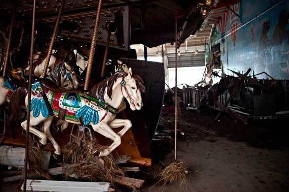 A heavily damaged carousel sits inside Keansburg Amusement Park after Superstorm Sandy swept across New Jersey.