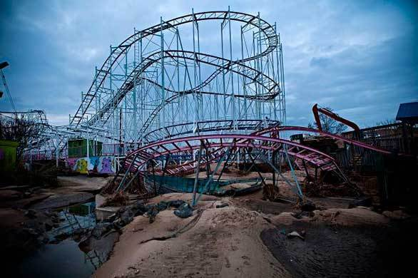 A damaged roller coaster sits inside Keansburg Amusement Park after Superstorm Sandy swept across the Jersey Shore.