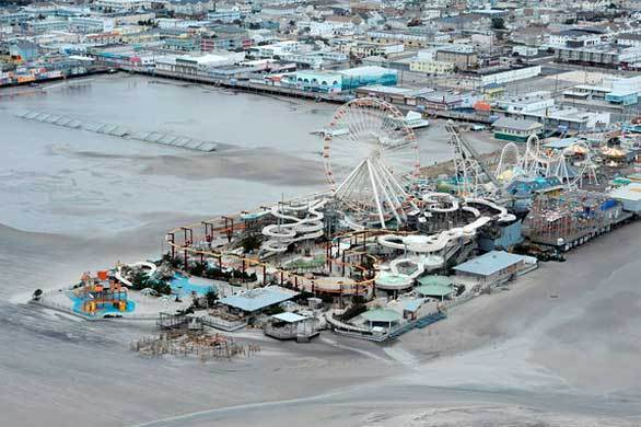 The Morey's Piers amusement park is still standing on the beach at Wildwood, N.J., after Hurricane Sandy blew across the area.