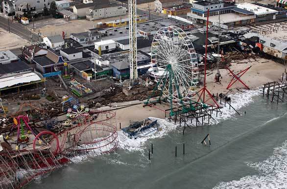 An aerial photo of the storm-damaged FunTown Pier amusement park on the Jersey Shore.