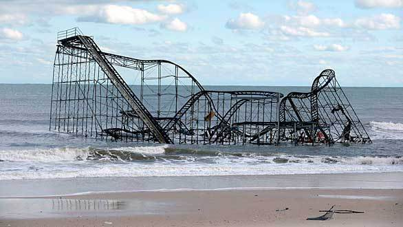 The Casino Pier roller coaster in Seaside Heights, N.J., sits in the ocean after the pier was destroyed by Hurricane Sandy.