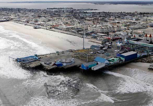 An aerial photo shows the damage caused by Superstorm Sandy to the Casino Pier amusement park in Seaside Heights, N.J.