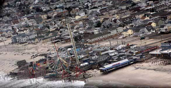 An aerial photo shows damage to the FunTown Pier in Seaside Park, N.J., after Sandy made landfall on the Jersey shore.