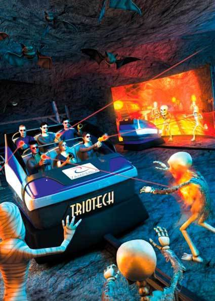 Zamperla has joined forces with Triotech on a 7-D theater attraction (that's four more than 3-D, if you're counting) that promises tilting and rotating seats, special effects, laser guns and large-scale curved screens. A version of the 7-D theater experience is in operation at San Francisco's Pier 39.