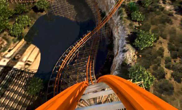 A point-of-view look at the Iron Rattler hybrid wood-steel coaster as it descends into the quarry below at Six Flags Fiesta Texas in this artist rendering.
