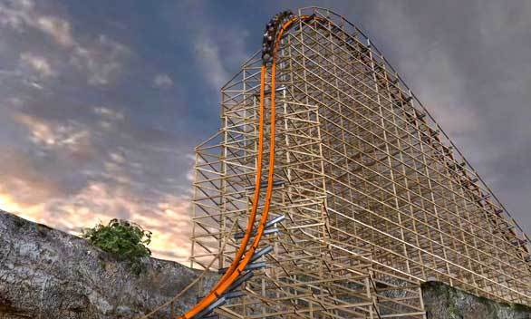 A train reaches the top of the Iron Rattler lift hill in this artist rendering of the renovations planned for the Six Flags Fiesta Texas coaster.