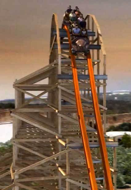 An artist rendering of the Iron Rattler hybrid wood-steel coaster preparing to descend the first drop at Six Flags Fiesta Texas.