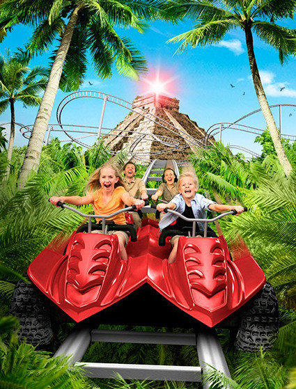 A Juvelen roller coaster at a Scandinavian theme park will take riders on an off-road trek aboard all-terrain vehicles through a Mayan jungle in search of lost treasure.