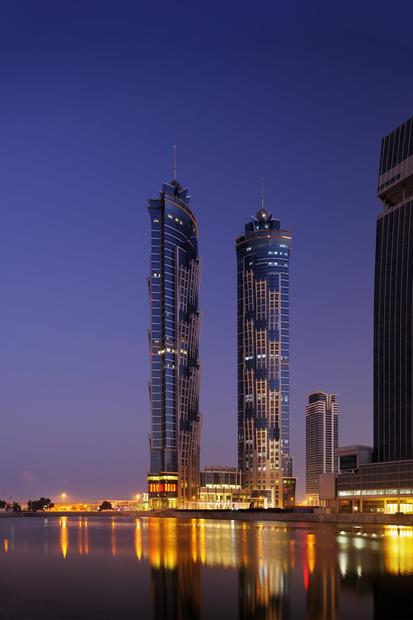 The twin towers of the JW Marriott Marquis Hotel Dubai each measure 1,165 feet.