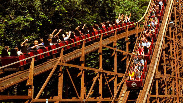 With a running time of more than four minutes, the 7,359-foot-long terrain-hugging ride is the longest wooden coaster in the world. Built by Philadelphia Toboggan Co., the 1979 coaster features two lift hills and three tunnels.