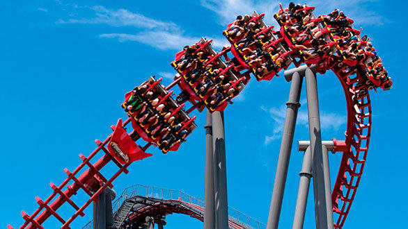 The 50-mph Vekoma flying coaster features five inversions, including an inline twist, horseshoe and lie to fly. The former X-Flight coaster was relocated from Geauga Lake in 2007.