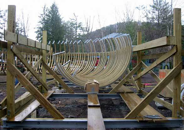 Ribbing forms the trough of a segment of the Flying Turns toboggan coaster at Knoebels amusement park in Elysburg, Pa.