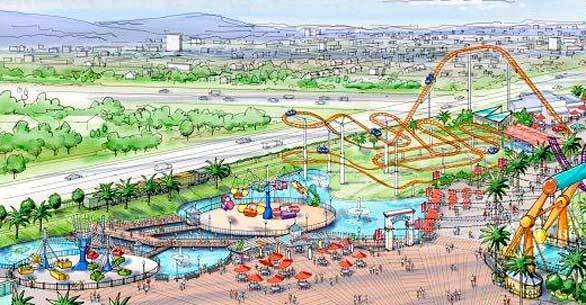 An artist rendering of the three family rides planned for 2013 in the Boardwalk area of Knott's Berry Farm.