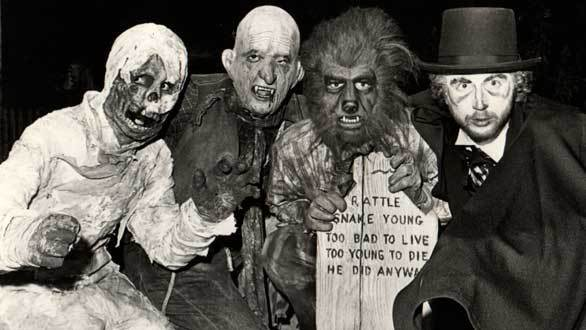 The early years of Knott's Halloween Haunt featured monsters based on classic horror movie characters, including the Mummy, Dracula and Wolf Man.