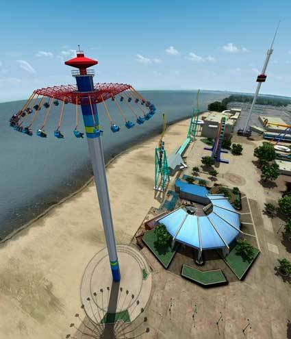 Concept art of WindSeeker along the shoreline at Cedar Point in Ohio.