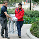 "Lego model makers move an AT-AT walker for the new ""Star Wars"" area at Legoland California."