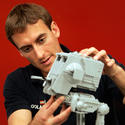 "An AT-ST walker gets snapped into shape for the new ""Star Wars"" area at Legoland California."