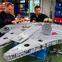 "Lego model makers build the Millennium Falcon for the new ""Star Wars"" area at Legoland California."