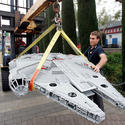 "Lego model makers move the Millennium Falcon for the new ""Star Wars"" area at Legoland California."