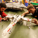 "Lego model makers build an X-Wing starfighter for the new ""Star Wars"" area at Legoland California."