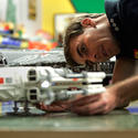 "An X-Wing starfighter nears completion for the new ""Star Wars"" area at Legoland California."