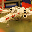 "A Lego X-Wing starfighter stands by for liftoff to the new ""Star Wars"" area at Legoland California."