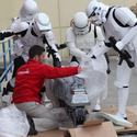 "Stormtroopers help unload a clone turbo tank from ""Revenge of the Sith"" for the Star Wars miniland at Legoland California."