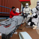 "Stormtroopers help assemble a clone turbo tank from ""Revenge of the Sith"" for the Star Wars miniland at Legoland California."