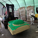 Stormtroopers help transport a Naboo hangar for the Star Wars miniland at Legoland California.