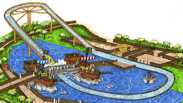 Concept art of the Pirate Reef shoot-the-chutes water ride at Legoland California.