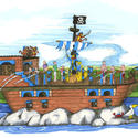 Blue pirate ship
