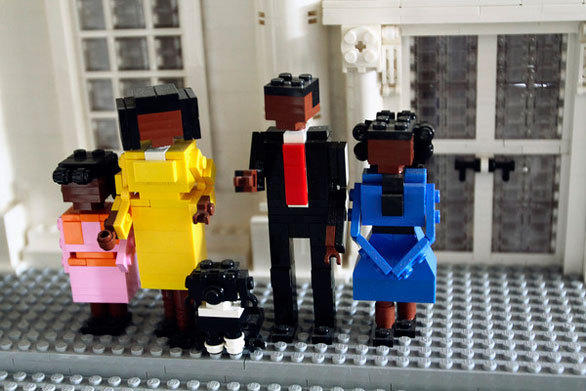 A Lego version of the Obama family at the White House in the Miniland area of Legoland Florida.
