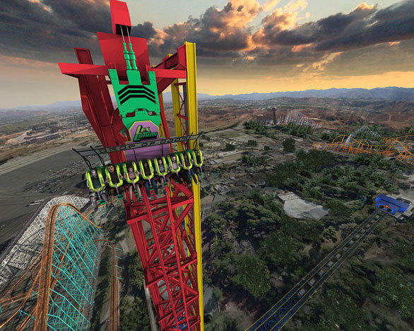 Concept art of the 400-foot-tall Lex Luthor: Drop of Doom drop tower at Six Flags Magic Mountain.