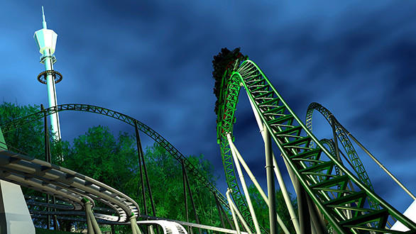The 135-foot-tall dual-launch Helix will feature plenty of steep drops, banked turns and airtime hills.