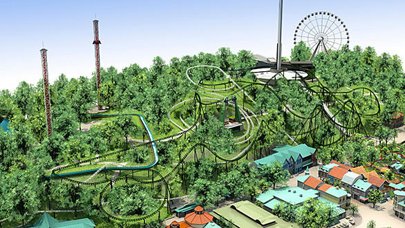 An artist rendering shows a bird's eye view of Projekt Helix's 4,445-foot track at Sweden's Liseberg amusement park.