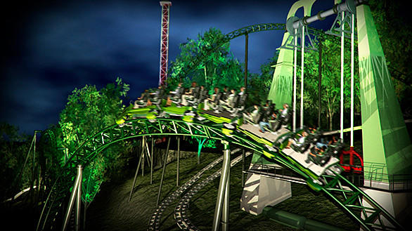 Helix's serpentine track will interact with the 2007 Uppswinget pendulum swing along its hill-hugging journey.