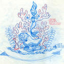 Ariel floats before a coral backdrop in an artist's sketch for the Little Mermaid dark ride at Disney California Adventure.