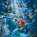 Ariel examines the treasure in her mermaid grotto in concept art for the Little Mermaid dark ride at Disney California Adventure.