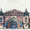 An artist rendering of the Little Mermaid ride building's exterior, inspired by the Dragon Gorge scenic railway at the long-gone Ocean Park amusement zone in Southern California.