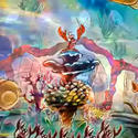 Sebastian the crab conducts an audio-animatronic orchestra of sea creatures in the ride's main showroom in concept art for the Little Mermaid dark ride at Disney California Adventure.