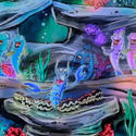 A fish chorus sings in concept art for the Little Mermaid dark ride at Disney California Adventure.