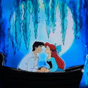 "To the strains of ""Kiss the Girl,"" Ariel and Prince Eric kiss on a rowboat as fish spout water in concept art for the Little Mermaid dark ride at Disney California Adventure."