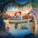 Riders watch Ariel and Prince Eric kiss on a rowboat in concept art for the Little Mermaid dark ride at Disney California Adventure.